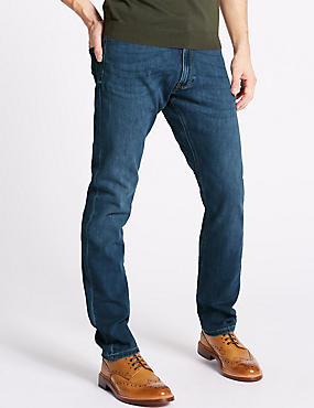 Luxury Performance Slim Fit Jeans, MEDIUM BLUE, catlanding