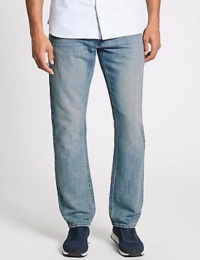 Cotton Linen Straight Fit Authentic Jeans, LIGHT BLUE, catlanding