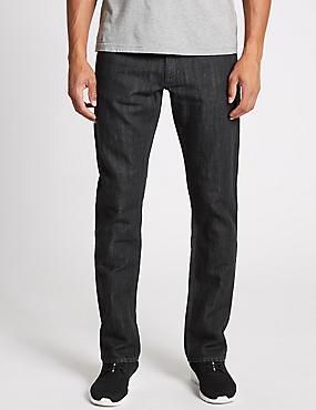 Cotton Linen Straight Fit Authentic Jeans, GREY, catlanding