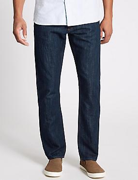 Cotton Linen Straight Fit Authentic Jeans, INDIGO, catlanding