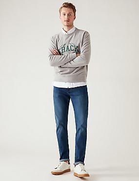 Slim Fit Stretch Jeans, MEDIUM BLUE, catlanding