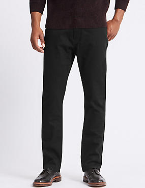 Big & Tall Regular Fit Stretch Jeans, BLACK, catlanding