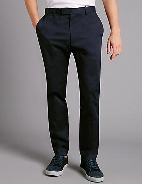 Slim Fit Stretch Cotton Chinos, NAVY, catlanding