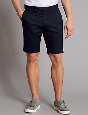 Cotton Chino Shorts with Stretch, DARK NAVY, catlanding