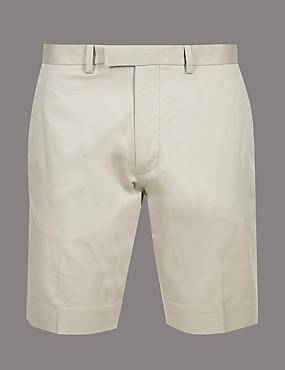 Cotton Chino Shorts with Stretch, DARK BEIGE, catlanding