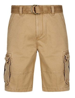 Pure Cotton Belted Cargo Shorts Clothing