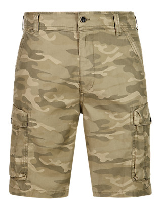 Pure Cotton Camouflage Cargo Shorts Clothing