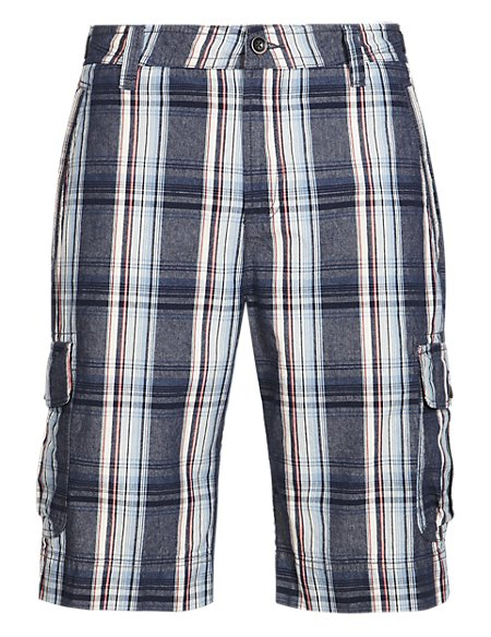 Pure Cotton Large Checked Cargo Shorts