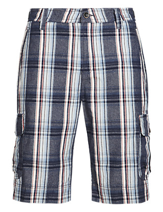 Pure Cotton Large Checked Cargo Shorts Clothing