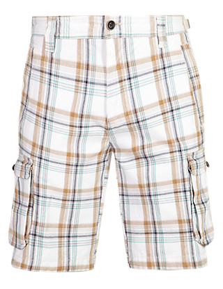 Pure Cotton Checked Cargo Shorts Clothing