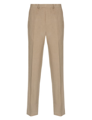 Tailored Fit Flat Front Trousers with Linen Clothing