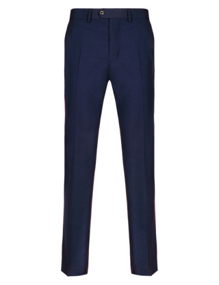 Pure Wool Flat Front Tailored Fit Trousers Clothing