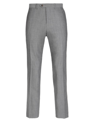 Pure Wool Tailored Fit Flat Front Trousers Clothing