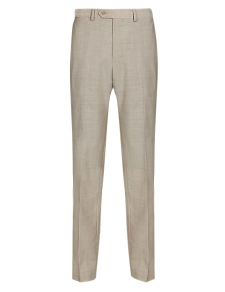 Pure Wool Flat Front Tailored Fit Trousers