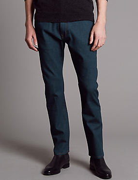 Straight Fit Stretch Jeans, MEDIUM BLUE, catlanding