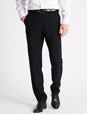 Slim Fit Flat Front Trousers, NAVY, catlanding