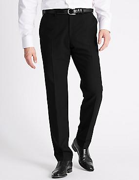 Slim Fit Flat Front Trousers, BLACK, catlanding