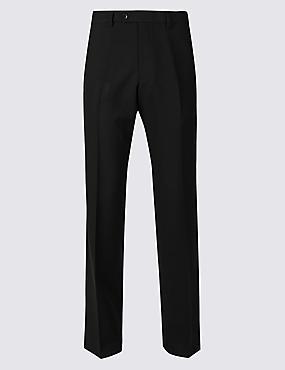 Regular Fit Flat Front Trousers , BLACK, catlanding