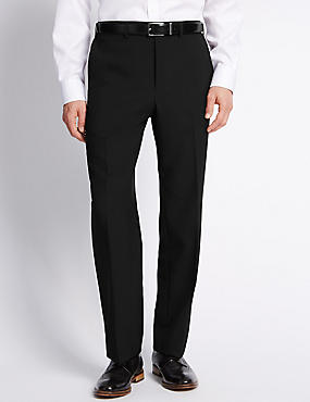 Elasticated Waist Flat Front Trousers