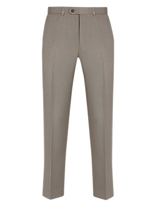 Crease Resistant Active Waistband Flat Front Trousers Clothing