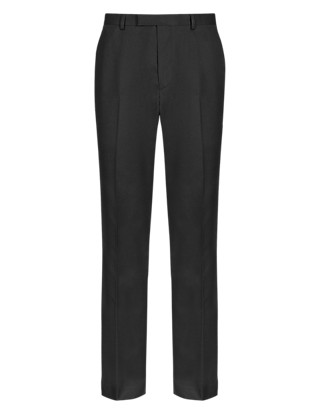 Slim Fit Flat Front Trousers Clothing