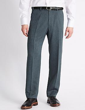 Regular Fit Flat Front Trousers, BLUE, catlanding
