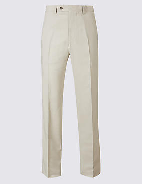 Regular Fit Flat Front Trousers, STONE, catlanding