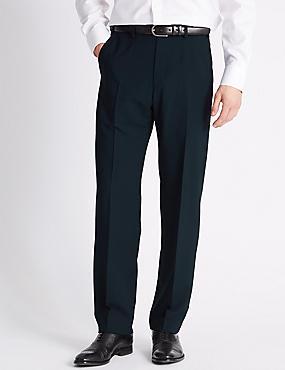 Regular Fit Flat Front Trousers, NAVY, catlanding