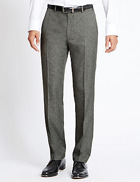 Flat Front Tailored Fit Trousers