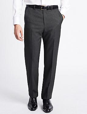 Regular Fit Flat Front Trousers, CHARCOAL MIX, catlanding