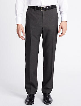 Big & Tall Textured Flat Front Trousers