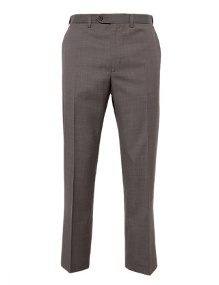 Supercrease® Active Waistband Flat Front Trousers with Wool Clothing