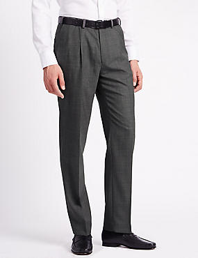 Regular Fit Wool Blend Single Pleat Trousers