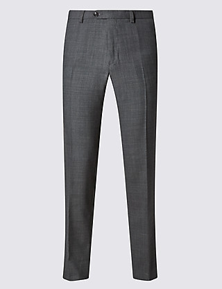 Slim Fit Flat Front Trousers with Wool Clothing