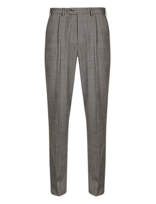 Wool Blend Single Pleat Trousers Clothing