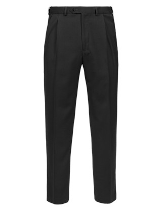 Big & Tall Performance Supercrease™ Active Waistband Twin Pleat Trousers with Wool Clothing