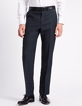Wool Blend Slim Fit Flat Front Trousers