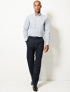Flat Front Trousers with Wool