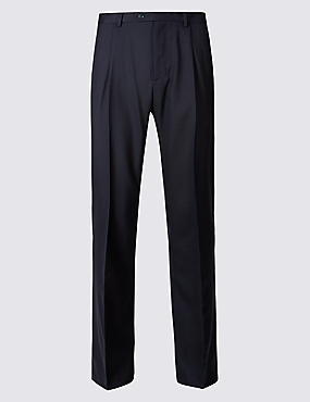 Regular Fit Wool Rich Single Pleated Trousers