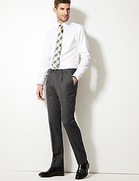 Tailored Wool Blend Single Pleated Trousers, GREY, catlanding