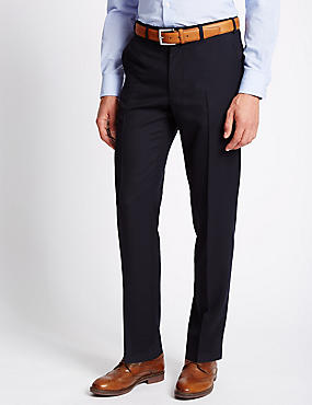 Flat Front Wool Blend Twill Trousers