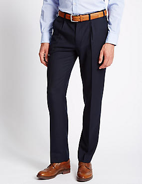 Single Pleat Twill Trousers with Wool