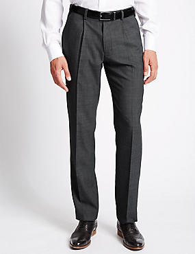 Single Pleat Tailored Fit Trousers with Wool