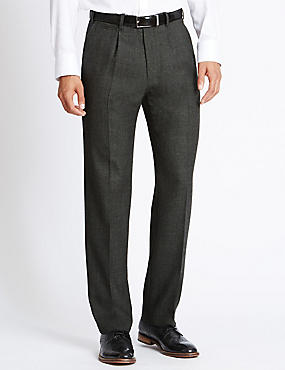 Wool Blend Supercrease™ Single Pleat Trousers with Buttonsafe™