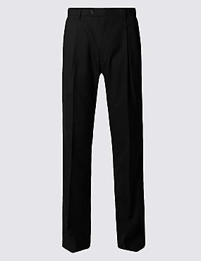 Tailored Wool Blend Twin Pleated Trousers