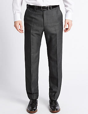 Tailored Fit Wool Blend Textured Trousers