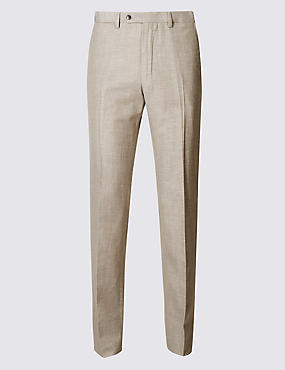 Tailored Linen Blend Flat Front Trousers