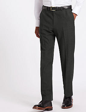 Regular Fit Wool Blend Textured Trousers