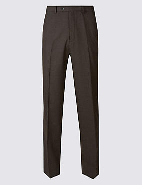 Regular Wool Rich Single Pleated Trousers