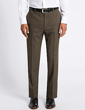 Regular Wool Blend Flat Front Trousers